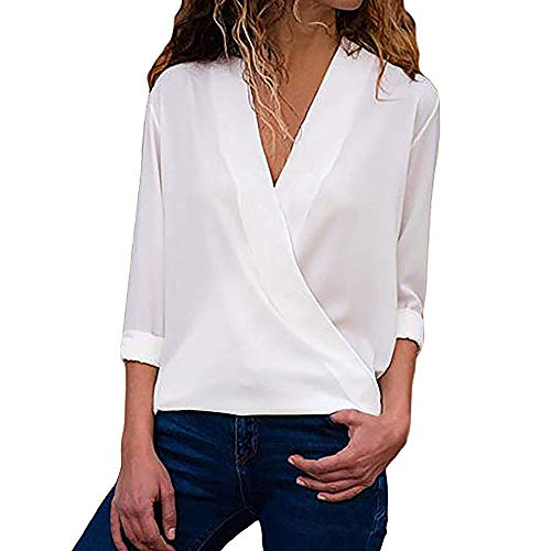 OSYARD Damen Sexy Farbe V-Ausschnitt Sweatshirt Plus Größe Lose, Frauen Casual Wrap V-Ausschnitt...