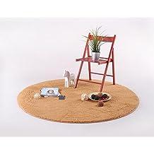 S&Y Cabello corto salón, dormitorio alfombra redonda silla giratoria Silla de ordenador acolchado, cojines, alfombra redonda (Color caqui, Tamaño: 120 cm).