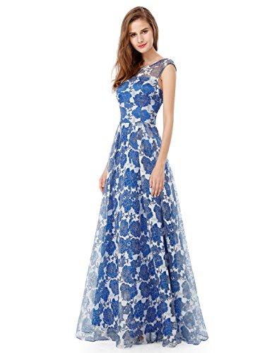 Ever Pretty Robe de Cocktail Robe de Soirée Col Rond Taille Empire Floral Élégante EP07027 Bleu sapphire