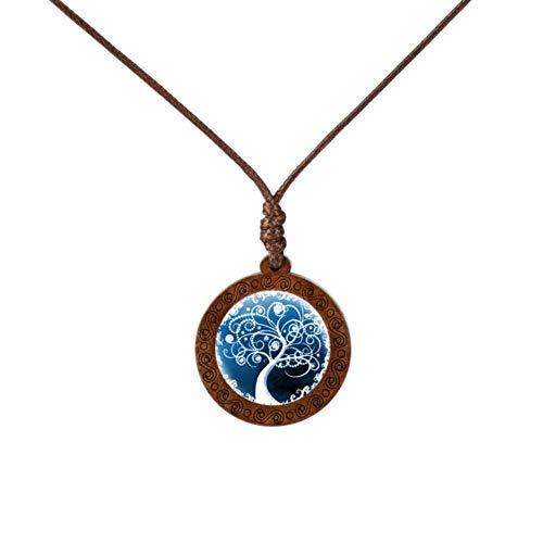 Bronze-sechs Leichte Runde Anhänger (Uofr Mode Baum des Lebens Halskette Holz Glas Cabochon Pflanze Anhänger Bronze Farbe Kette Halsketten Schmuck, 6)