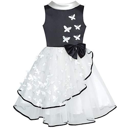 Sunboree Mädchen Kleid Blume Weiß und Schwarz Schmetterling Festzug Party Gr. 110