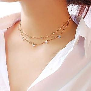 XUHAHAXL Halskette/Mode Schlüsselbein Halskette Metallischen Material Multi-Layer-Dekoration