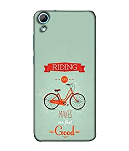 Fuson Designer Back Case Cover for HTC Desire 628 :: HTC Desire 628 Dual Sim (Healthy Exercise Cycling Text Bicycle Picture Design)