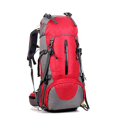 GOUQIN Outdoor Rucksack Klassische Mode 45+5 L Multifunktion Klettern Taschen Wasserdicht Tragen Walking Paket Masse Rucksäcke Rot