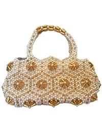 Chotushkone's Women's Elite Class Hand Bag (Off-White & Lite Yellow Combination-HC679)