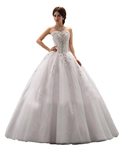 Ikerenwedding Damen Empire Kleid Weiß - Weiß
