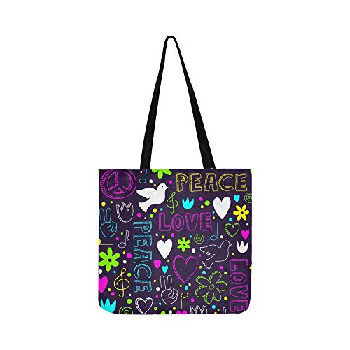 Helle Handdrawn Symbole Frieden Leinwand Tote Handtasche Umhängetasche Crossbody Taschen Geldbörsen Für Männer Und Frauen Einkaufstasche -