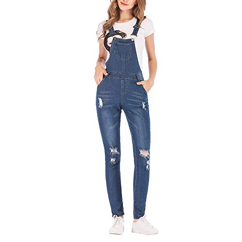 Bmeigo Jeans Jumpsuit Mujer - Peto Slim Fit Stretch Denim Blue Skinny Damas Pantalones Largos Overoles