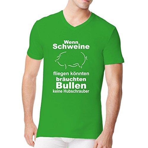 Fun Sprüche Männer V-Neck Shirt - Wenn Schweine fliegen könnten by Im-Shirt Kelly Green