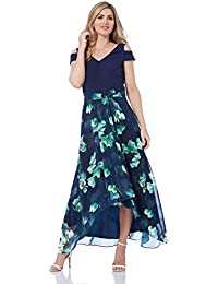 9c7642c35998 Roman Originals Women Floral Print Cold Shoulder Maxi Dress - Ladies V-Neck Short  Sleeve Smart Evening Special…