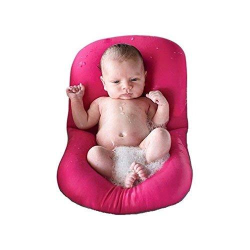 Baby-Badewanne Kissen, 4EVERHOPE Floating Anti-Slip-Bad Kissen weiche Sitzbadewanne Unterstützung für Neugeborene 0-6 Monate (Rosa)