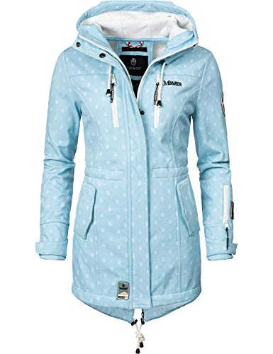 Marikoo Damen Softshell-Jacke Outdoorjacke Zimtzicke Light Blue Dots Gr. L Softshell Jacke Light