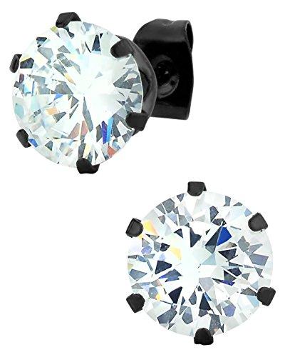 Edelstahl Groß Schwarz IP-vergoldet rund Cut 5,5Karat Zirkonia künstlicher Diamant Ohrstecker Ohrringe für Männer (Große Diamant-ohrringe Für Männer)