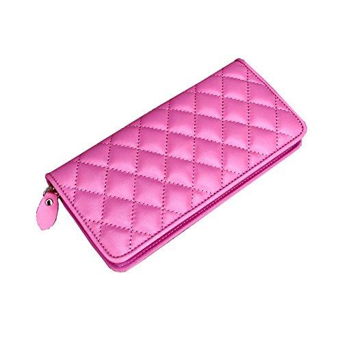 H&W Donna Sheepskin Pelle Diamante Plaid Portafoglio Rosa Rosso Rosa