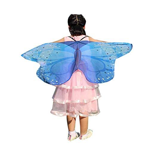 YWLINK Chiffon Klassisch Jungen MäDchen Karneval Bohemien Schmetterling Print Schal Cosplay ZubehöR Erwachsener Eltern Kind Weihnachten Halloween FlüGel Umhang Pashmina (118 * 48CM,B Blau)