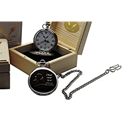 Sir Winston Churchill Silver Pocket Watch Quote Never Give Up Luxury Gift in Case wooden box