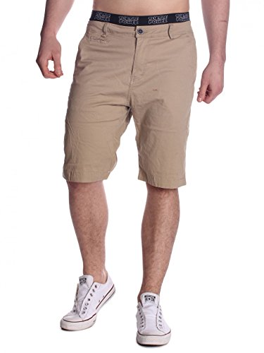 Herren Bermuda-Shorts · (Casual Fit) Kurze einfarbige Chino Short Stretch Bermuda Sommer Freizeit Capri Hose Walkshort mit gemustertem Bein aus Baumwoll-Elasthan-Mix, Unifarben · H1497 von Max Men (Capri-stretch-hose)