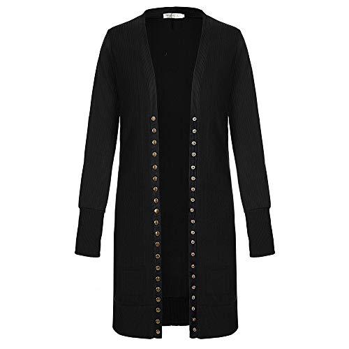 SELENECHEN Damen Cardigan Langarm Strickjacke Casual Cardigan Knopf V-Ausschnitt Outwear Mantel Herbst Winter (Schwarz, M) Ausschnitt Mantel