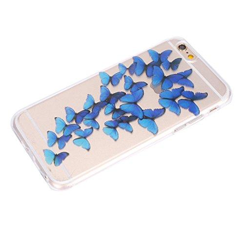 Coque pour iPhone 6 6S, Etui pour iPhone 6 6S, ISAKEN Peinture Style Transparente Ultra Mince Souple TPU Silicone Etui Housse de Protection Coque Étui Case Cover pour Apple iPhone 6 6S 4.7 Pouce (Guit Papillons Bleu