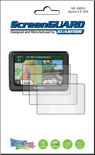 3 x Garmin Nuvi 2455 2455lm 2455LT 2455LMT 10,9 cm GPS PREMIUM CLEAR LCD Displayschutzfolie Cover Guard Shield Schutzfolie Kit. 100% Passform, kein Schneiden (3 Stücke von GUARMOR) Screen Protector Guard Film