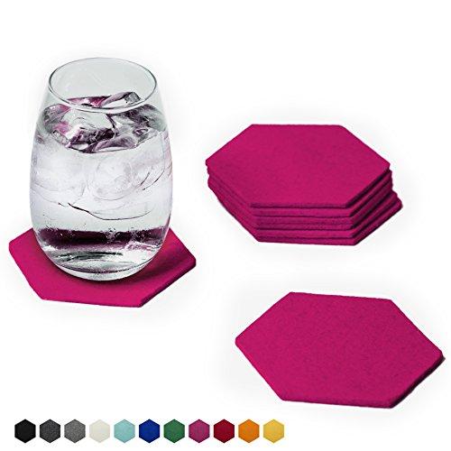 Smacc Filzuntersetzer, Hexagon 8er Set (Farbe wählbar) – Glasuntersetzer aus 100% Schafwolle, Untersetzer für Bar und Tisch, Einrichtungsideen als Tischdeko (Pink)