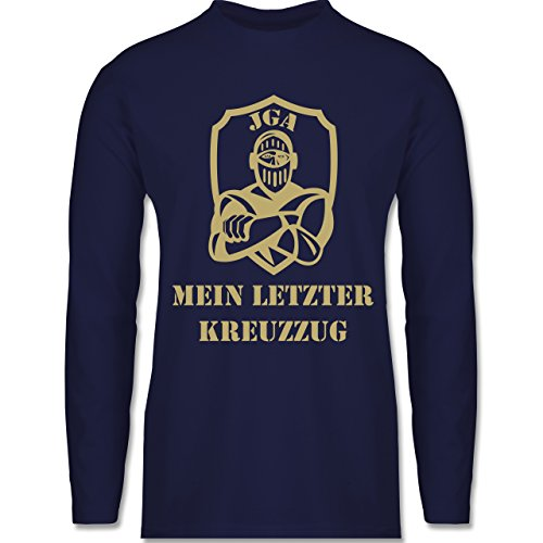 JGA Junggesellenabschied - Mein letzter Kreuzzug - Longsleeve / langärmeliges T-Shirt für Herren Navy Blau