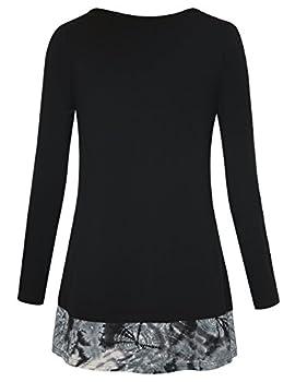 Youtalia Casual Long Sleeve Tops Women, Ladies Round Neck A Line Irregular Hem Patchwork Tie Dye Blouse Shirts(black,medium) 1