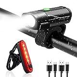 Gretrue Fahrradlicht LED Set, StVZO USB Wiederaufladbare Fahrrad Licht Set, IP65 Wasserdichte Fahrradlampe Set, Fahrradlicht Set Superhelle, Fahrradbeleuchtung für Nachtfahrer,Radfahren und Camping