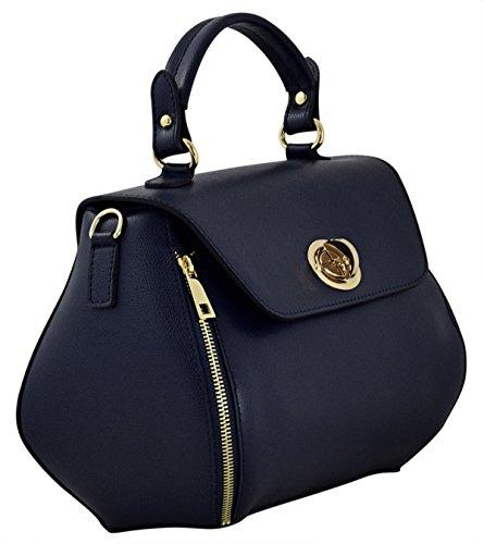 MARTA Sac porté Main Femme Porté Épaule Vrai Cuir Fabriqué en Italie Artisanale Bleu foncé
