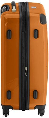 HAUPTSTADTKOFFER - Alex - 2er Koffer-Set Hartschale glänzend, 65 cm + 55 cm, 74 Liter + 42 Liter, Graphit-Blau Braun-Orange