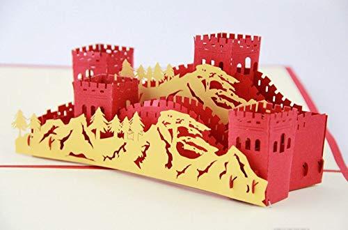 Handgemachte 3D-Pop-up-Karte Geburtstag Great Wall Valentines Hochzeitstag Urlaub Einweihungsparty Berge Burg Armee antike Partei neues Zuhause
