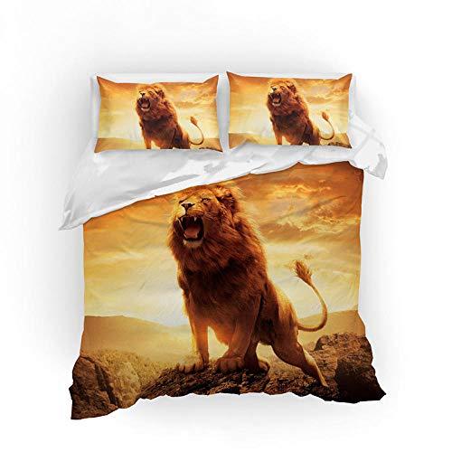 ZMK-720 3D Löwen Bettwäsche Set Queen Size Tier Bettbezug Set Mit Kissenbezug Bett Set King Size Bettdecke Set @ Eudouble