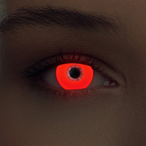 """Luminoso (debajo luz negra) UV lentillas de colores rojas relumbrar costume lentes sin dioprtías / corregir + gratis caso de lente """"Glowing Red"""""""