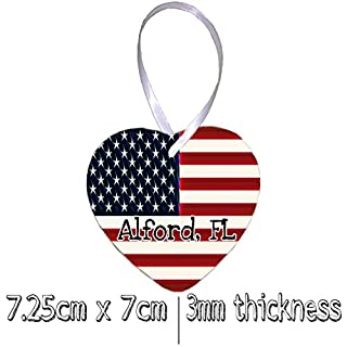 Alford Florida USA Hanging Ceramic Heart Christmas Tree Ornament with White Ribbon