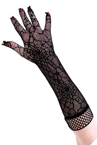 PartyXplosion® Damen Schwarze Netzhandschuhe mit Spinnen Musterung Spinnenmuster Optik Handschuhe Armstulpen Ellenbogen Lang Halloween Karneval Fasching Accessoires