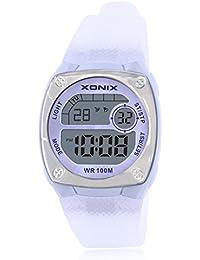 Reloj electrónico digital de múltiples funciones de los ni?os,Plaza jalea led 100 m resina resistente al agua alarma cronómetro hora dual chicas o chicos moda reloj de pulsera-E
