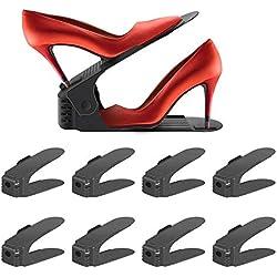 Réglable à chaussures,Rangement Chaussure pour Empiler les Chaussures Réglable Organiseur de Plastique Économie D'espace à Chaussures Support Rack - 8 Paires de Chaussures (Noir)
