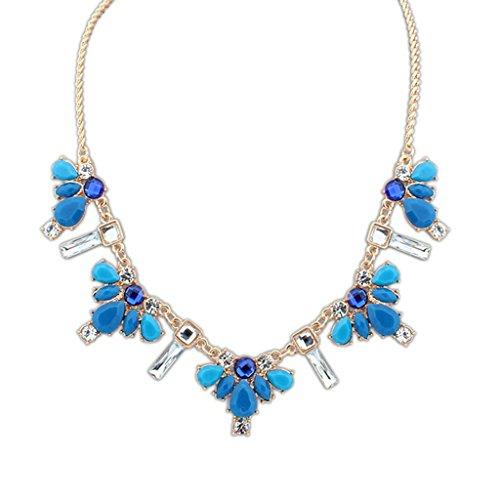 Aooaz Collane donna Boemia Collane statement Collane girocollo Vintage Collane cristallo Multi forma blu scuro