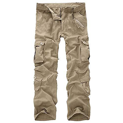 GreatestPAK Herren Einfarbig Mehrere Taschen Arbeitshosen Mode Lässig Baumwolle Multi-Tasche Outdoor Arbeitshose Lange Cargohose Hosen Mini-flan