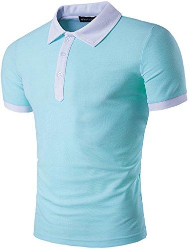 Pizoff Herren Urban Basic schmale Passform Polohemd mit Kontrast Kragen in Versch Farben B482-Blue