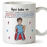 MUGFFINS Enfermero Tazas Originales de café y Desayuno para Regalar a Trabajadores Profesionales - AQUÍ Bebe UN SÚPER ENFERMERO - Cerámica 350 ml