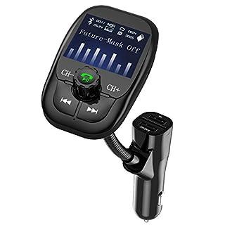 Anbero FM Transmitter Bluetooth Freisprecheinrichtung Auto Adapter KFZ MP3 Player mit 2 USB ladegerät, 1,44 Zoll Display, Unterstützung USB Stick, Micro SD Karte, 3.5 mm AUX Eingang Ausgang