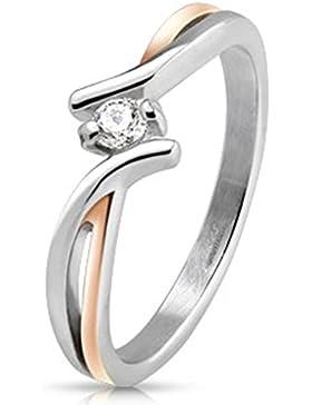 Paula & Fritz® Ring aus Edelstahl Chirurgenstahl 316L silber 7mm breit zweifarbig mit einem Stein verfügbare Ringgrößen...