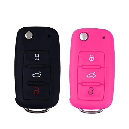 E-Mandala 2 Stück VW Schlüssel Hülle 3-Tasten Silikon Tasche Etui Schutzhülle für Volkswagen VW Golf 7 6 5 4 Caddy Lupo Polo Passat SkodaFabia Bora Autoschlüssel Schlüssel Zubehör - Schwarz Rosa