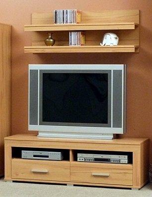 7.7.8.9.2635: made in BRD - schönes TV-Lowboard in Kernbuche dekor - zusammen mit einem Wandregal bzw. großen Wandpaneel - TV-Anrichte