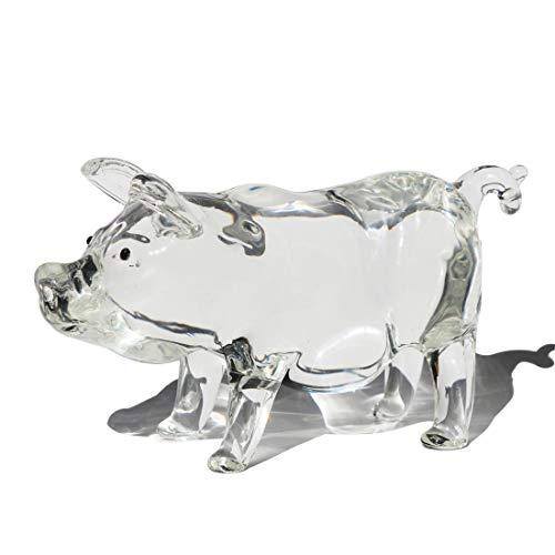 Waltz&F Briefbeschwerer aus Kristallglas, klar, Schweine-Motiv, Fengshui, Bastelzubehör, Dekoration, Geschenk-Box (Party Geschenk-boxen City)