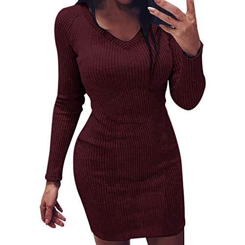 Damen Sommer Damen Volltonfarbe Kleid Mode Volltonfarbe Strickpullover Kleid Damen Sommer Volltonfarbe V-Ausschnitt Langarm Fit Minikleid Herbst und Winter Mode Sexy Skinny Mini Strickpullover Kleid -