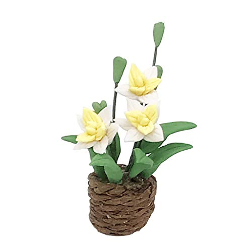 DingLong 1:12 Puppenhaus Puppenstuben Zubehör - Mini Blume Grünpflanze Gartenzubehör Ornament Dekor, Miniatur Modell der Life-Play-Szene/ DIY Dollhouse Accessoires- Flower Green Plant (G) -