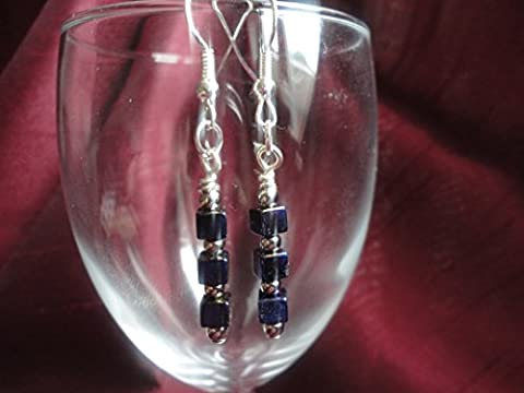 Purple Hematite Cube Semi Precious Gemstone Dangle Drop Earrings