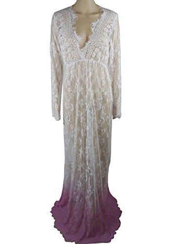 Elegant Damen Spitzenkleid Maxikleider Partykleid Sommer V-Ausschnitt Crochet Durchsichtig Cover Up Spitze-Blumenkleid Pink1